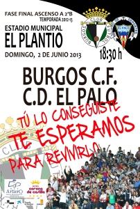 Cartel del partido del ascenso ante el CD El Palo
